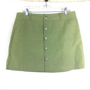 Olive green corduroy mini skirt button front NEW 8